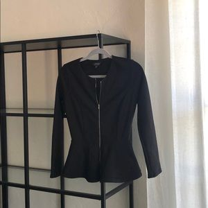 Topshop Peplum zip up black jacket